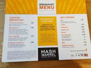 Presthaven Sands, Prestatyn Breakfast Menu